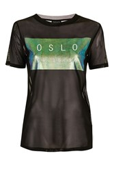 Topshop Petite Olso Holographic Tee Black
