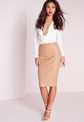 Missguided Faux Leather Seam Detail Midi Skirt Camel Brown