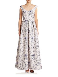 Kay Unger Floral Off Shoulder Gown Lilac Multi