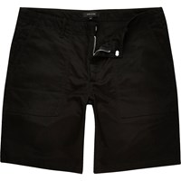 River Island Mens Black Casual Slim Fit Bermuda Shorts