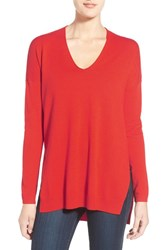 Trouve Women's Trouve V Neck Tunic Sweater Red Fiery