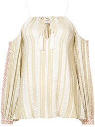 Zeus Dione Cold Shoulder Blouse Nude And Neutrals