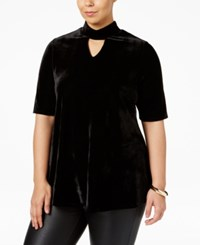 Ny Collection Plus Size Velvet Mock Neck Top Black Velvet