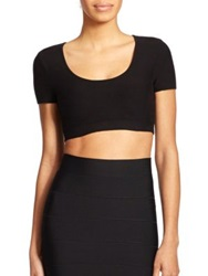 Bcbgmaxazria Maressa Solid Cropped Top Black