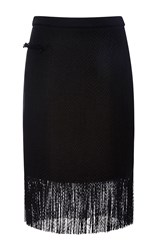 Adam By Adam Lippes Linen Fringe Mini Skirt Black