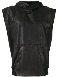Julius Sleeveless Leather Hoodie Black