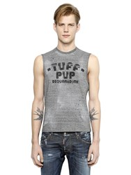 Dsquared Sleeveless Printed Faded Cotton T Shirt