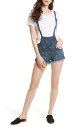 Free People Women's Strappy Denim Short Overalls Blue