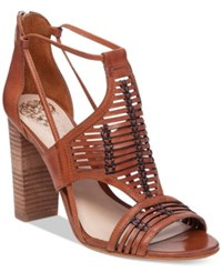 Vince Camuto Ceara Huarache Block Heel Dress Sandals Women's Shoes Summer Cognac