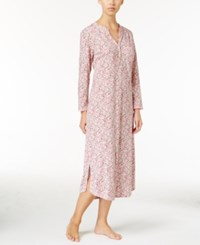 Miss Elaine Luxe Printed Knit Nightgown Pink Print