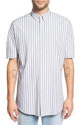 Zanerobe Men's 'Stripe Rugger' Oversize Short Sleeve Woven Shirt