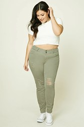 Forever 21 Plus Size Skinny Jeans Olive