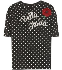 Dolce And Gabbana Embellished Printed Silk Blend Top Black