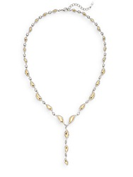 Adriana Orsini Pave Leaf 'Y' Necklace Gold Silver