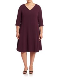 Marina Rinaldi Plus Size V Neck A Line Dress Purple