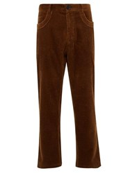 Wales Bonner Cropped Cotton Corduroy Trousers Brown