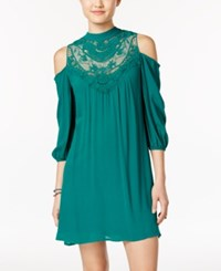 As U Wish Juniors' Lace Trim Cold Shoulder Peasant Dress Jade