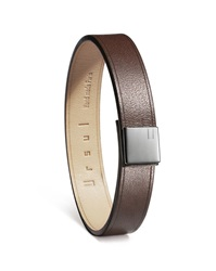 Ursul Square Brown Medium Leather And Steel Attache Bracelet