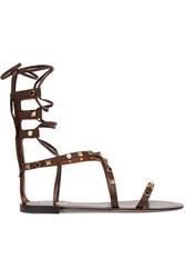 Valentino Rockstud Embellished Leather Sandals Chocolate