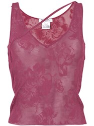 Christian Dior Vintage Asymmetric Knitted Vest Pink And Purple