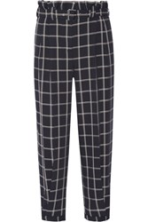 Elizabeth And James Fritz Cropped Checked Crepe Tapered Pants Midnight Blue