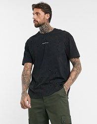Good For Nothing Oversized Acid Wash T Shirt In Black With Logo