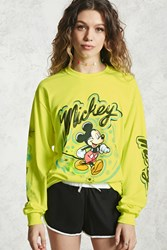Forever 21 Mickey Graphic Tee Neon Yellow Black
