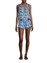 Poupette St Barth Floral Printed Short Jumpsuit Blue Poppy
