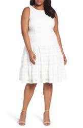 London Times Plus Size Women's Knit Tiered Fit And Flare Dress White