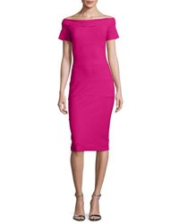 La Petite Robe Di Chiara Boni Haley Off The Shoulder Banded Jersey Cocktail Dress Azalea