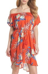 Echo Paradise Palm Off The Shoulder Cover Up Dress Tangerine
