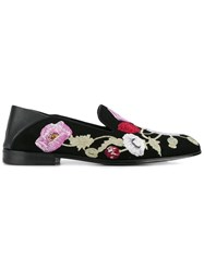 Alexander Mcqueen Floral Embroidered Loafers Black