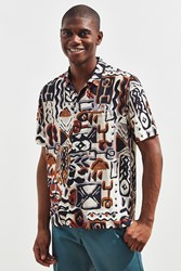 Urban Outfitters Uo Blocked Pattern Short Sleeve Button Down Shirt Brown