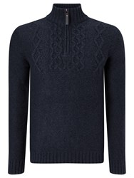 John Lewis Frosty Cable Zip Neck Jumper Navy