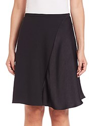 Halston Mini Flare Crepe Skirt Black