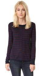 Paige Allie Stripe Sweater Midnight With Bordeaux Stripe