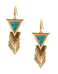 Steve Madden Turquoise Goldtone Fringed Triangle Drop Earrings