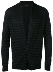 Roberto Collina Striped Trim Cardigan Men Cotton 48 Black