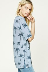Forever 21 Contemporary Palm Tree Tee Blue Charcoal