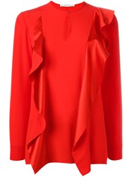 Givenchy Ruffle Trim Keyhole Blouse Red