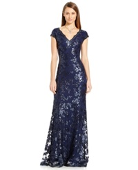 Adrianna Papell Sequin Embellished Cap Sleeve Gown