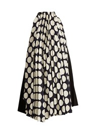 A.W.A.K.E. Polka Dot Print Pleated Dress Navy White