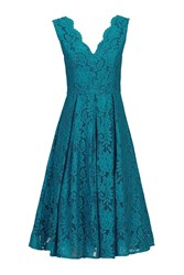 Jolie Moi V Neck Pleated Lace Dress Teal