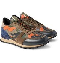 Valentino Rockrunner Camouflage Print Canvas Leather And Suede Sneakers Army Green
