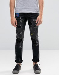 Always Rare Ripped Paint Splatter Skinny Jeans With Badges Black