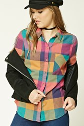 Forever 21 Buffalo Plaid Flannel Shirt Pink Green