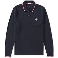 Moncler Long Sleeve Tipped Polo Blue