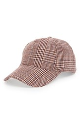 Sole Society Plaid Baseball Cap Red Oxblood Combo