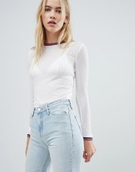 Ribbed Long Sleeve Top With Sports Neckline Cloud Dancer White