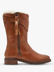 Joules Finchdale Block Heel Calf Boots Tan Leather
